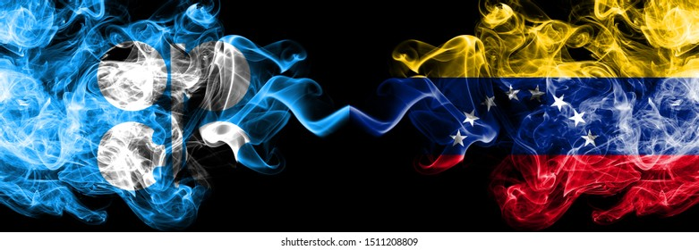 Opec vs Venezuela, Venezuelan abstract smoky mystic flags placed side by side. Thick colored silky smoke flags of Opec and Venezuela, Venezuelan