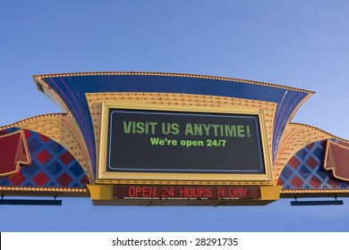 Open 24/7 casino sign