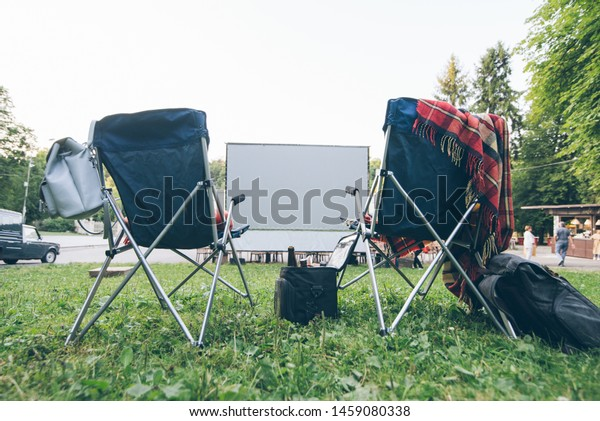 Strange Open Air Cinema Concept Folding Chairs Stock Photo Edit Now Ncnpc Chair Design For Home Ncnpcorg