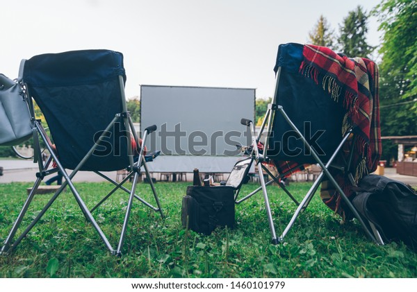 Terrific Open Air Cinema Concept Folding Chairs Stock Photo Edit Now Ncnpc Chair Design For Home Ncnpcorg