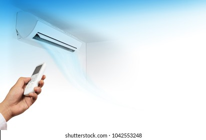 Open air conditioner on wall background