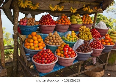 Open air fruit market in the indonesian village
