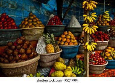 Open air fruit market in the village