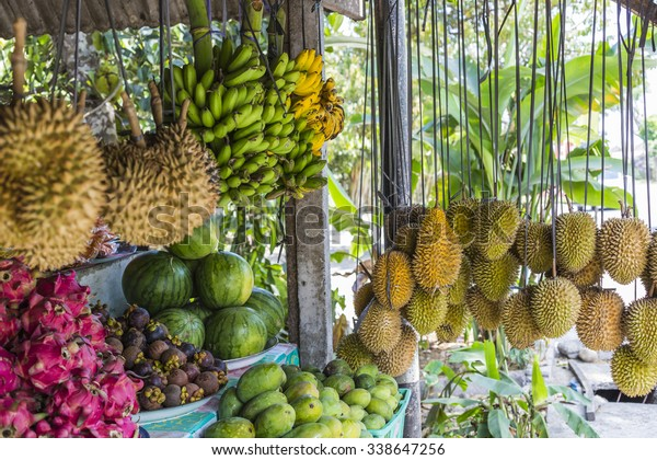 Open air fruit market in the village in Bali, Indonesia.