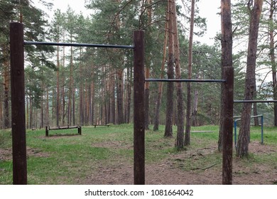 Open air gym in the forest, pull up bars of various height, pinewood coniferous woods