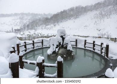 Open air hot onsen in snow winter, Hokkaido, Japan