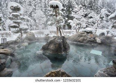 Open air hot spring in snow winter,Japan