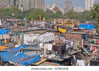 The open air laundry in southern Mumbai, India. Reputed to be the largest of its kind in the world, it employs handwashers, known as Dhobi Wallahs, to do the laundry of many of Mumbai's residents