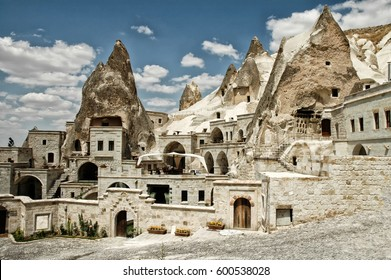 Open air museum in Goreme, Cappadocia, Turkey. Ancient caves, now underground hotels for tourists