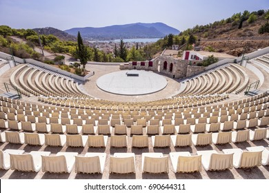 Open air public theater in the island of Salamina, Greece.