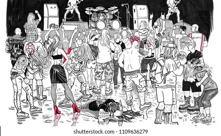 Open air rock music heavy metal festival crowd. Hand drawn black and white graphic comic style humorous funny illustration. Metalhead, headbanger, punk, subcultures people, teenagers, beer, alcohol.