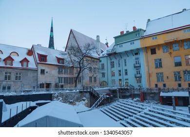 Open air theater. Snowy old town of Tallinn