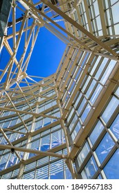 Open air viewing deck structure and view of the sky at the Sky Costanera, Gran Torre Santiago, South America's tallest building, Costanera Center, Las Condes, Santiago, Chile 12.21.17