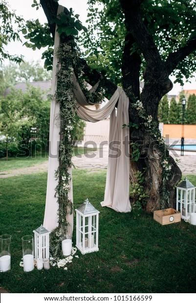 Open Air Wedding Ceremony Eucalyptus Wedding Parks Outdoor Stock