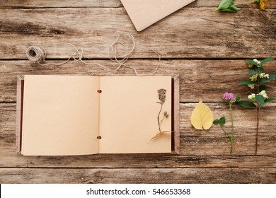 Open album with herbarium on page flat lay, free space. Top view on scrapbook with plants old wooden textured boards. Art, hobby, floristic, craft, science concept