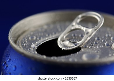 Open Aluminum Soft Drink Can With Water Drops. Closeup, Shallow DOF.