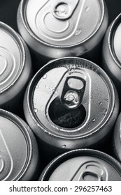 Open Aluminum Soft Drink Can With Water Drops