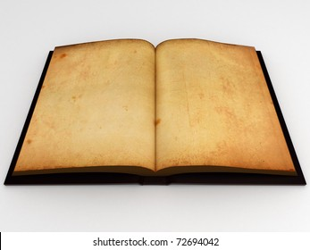 Open antic book with empty pages isolated over a white background.