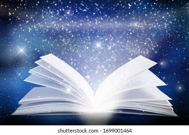 Open antique book with glitter stars and space background