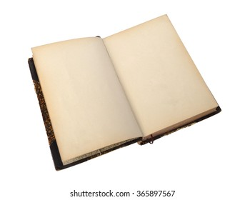 Open antique book on a white background