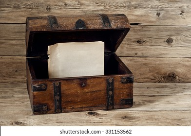 Open antique trunk. Inside the vintage trunk of a blank sheet of paper