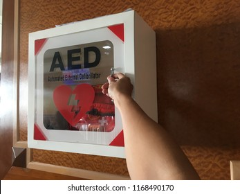 Open Automated External Defibrillators or AED on hand