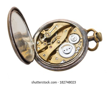 open back side of brass  vintage clock isolated on  background