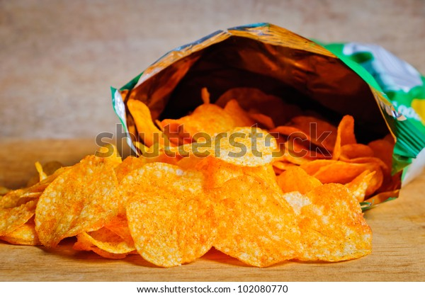 Open bag with potato chips