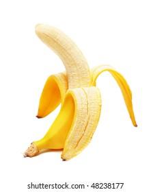 Open banana isolated
