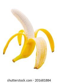 Open banana isolated on white background. Closeup.