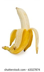 Open banana isolated on the white background