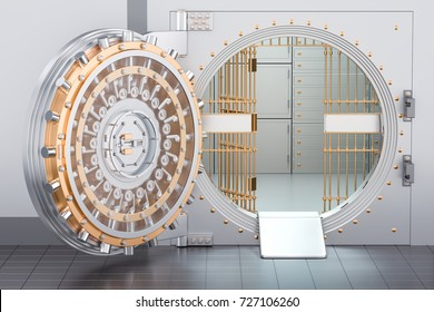 Open Bank Vault Door, 3D rendering