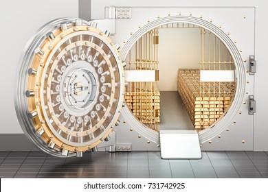 Open Bank Vault with golden ingots, 3D rendering