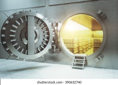 Open bank vault with golden walls and gold stacks. 3D Render