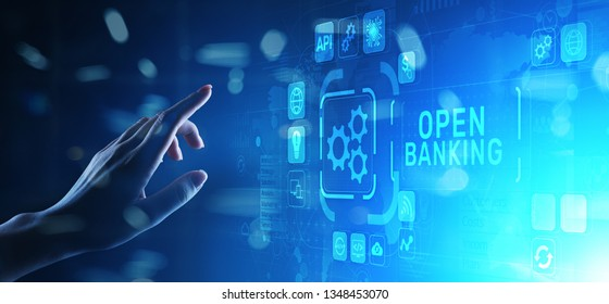 Open banking financial technology fintech concept on virtual screen.