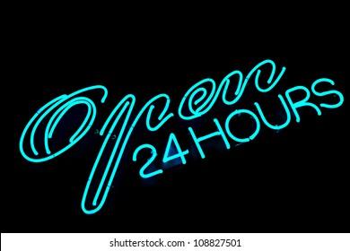 open bar restaurant 24 hours blue neon sign on black