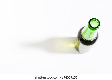 Open beer bottle on white background with border. Top view, flat lay