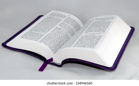 open Bible to psalm 118 isolated on a white background.