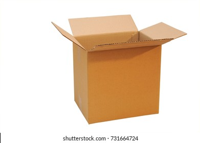 Open big box made of cardboard on a white background. Isolated