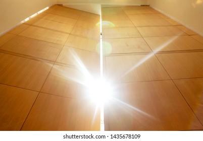 Open big wooden door on wall against a sun light. Open massive wooden big double door.