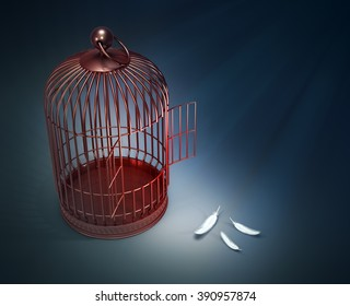 An open bird cage with feathers - freedom concept illustration