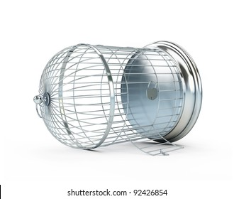 open birdcage on a white background