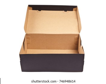 Open black cardboard box with lid isolated on white background