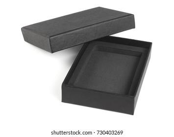 Open Black Gift Box on White Background