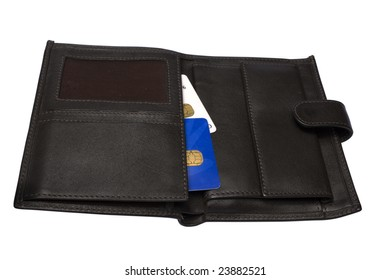 Open black leather wallet with cards isolated on white
