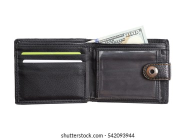 open  black  leather wallet with cash  dollars isolated