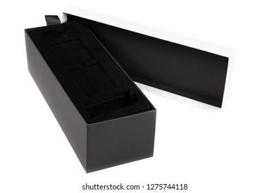 open black luxury box gift against white background
