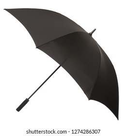 Open Black Umbrella Against Plain White Background - Parasol Brolly Golf
