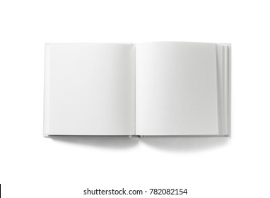 Open blank book on white background. Isolated with clipping path. Flat lay.