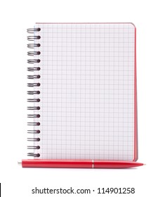 Open blank checked notebook with red pen isolated on white background cutout